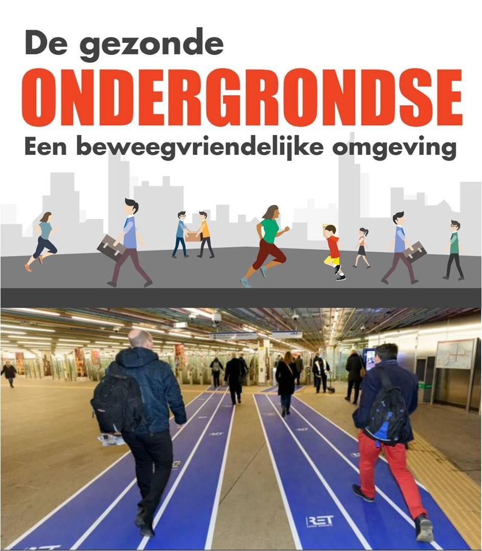 afbeelding voorbeeld beweegvriendlijke omgeving - metrostation omgetoverd in atletiekbaan