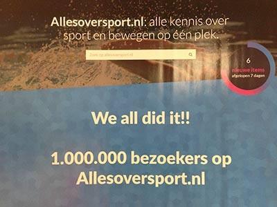1 miljoen bezoeken op allesoversport
